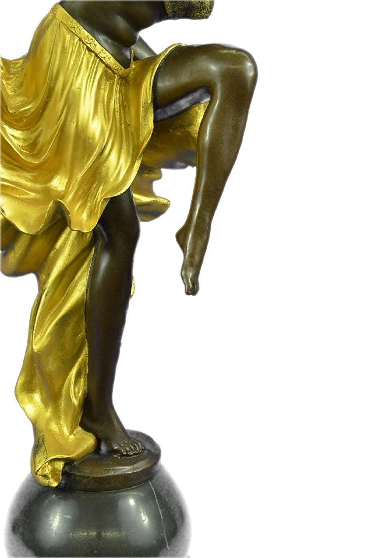 Gold Patina Bronze Sculpture on Marble Base Figurine - 3
