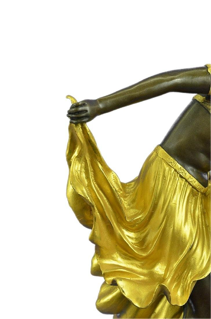 Gold Patina Bronze Sculpture on Marble Base Figurine - 4