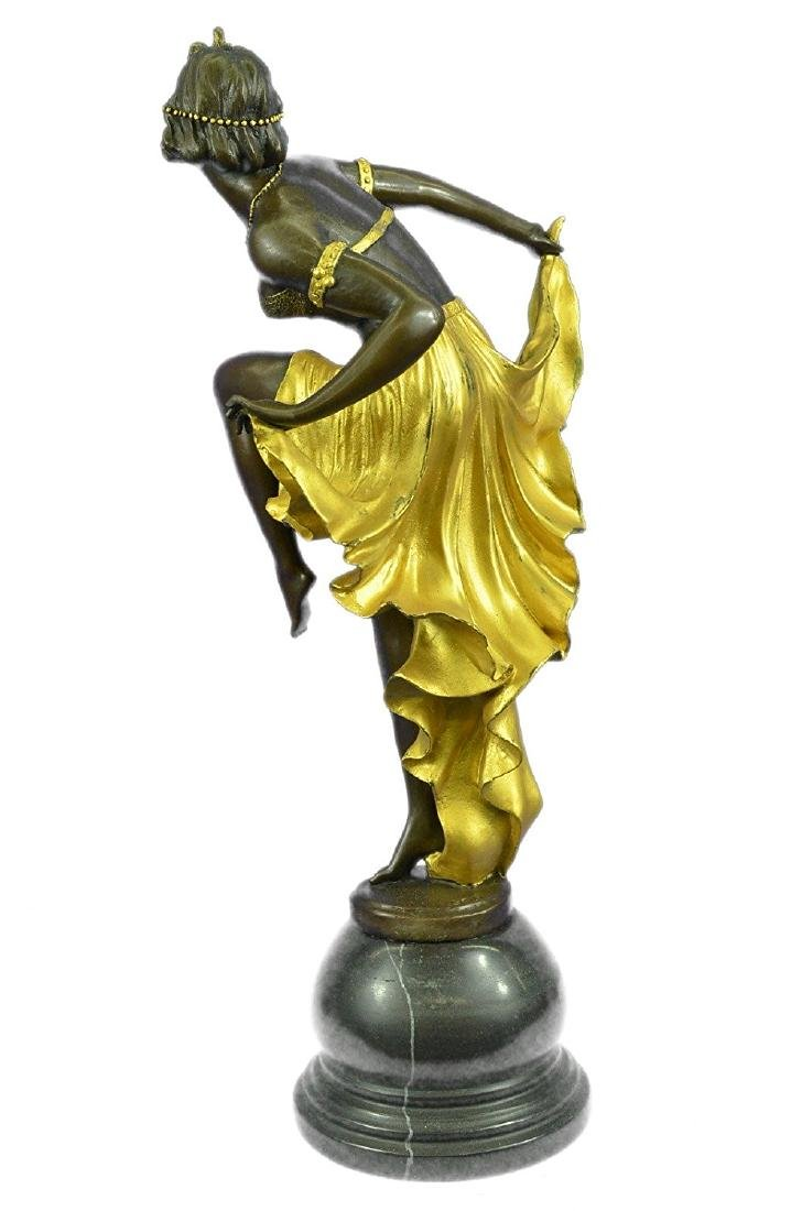 Gold Patina Bronze Sculpture on Marble Base Figurine - 6