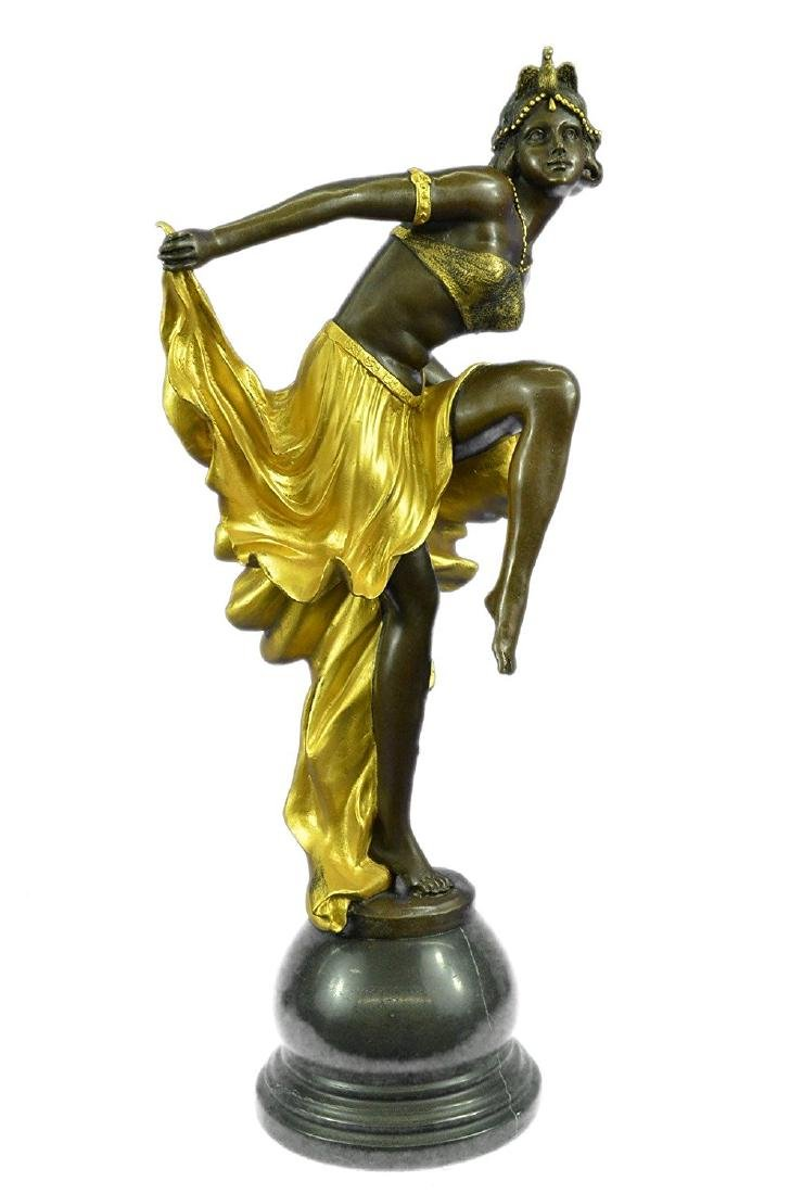 Gold Patina Bronze Sculpture on Marble Base Figurine - 9