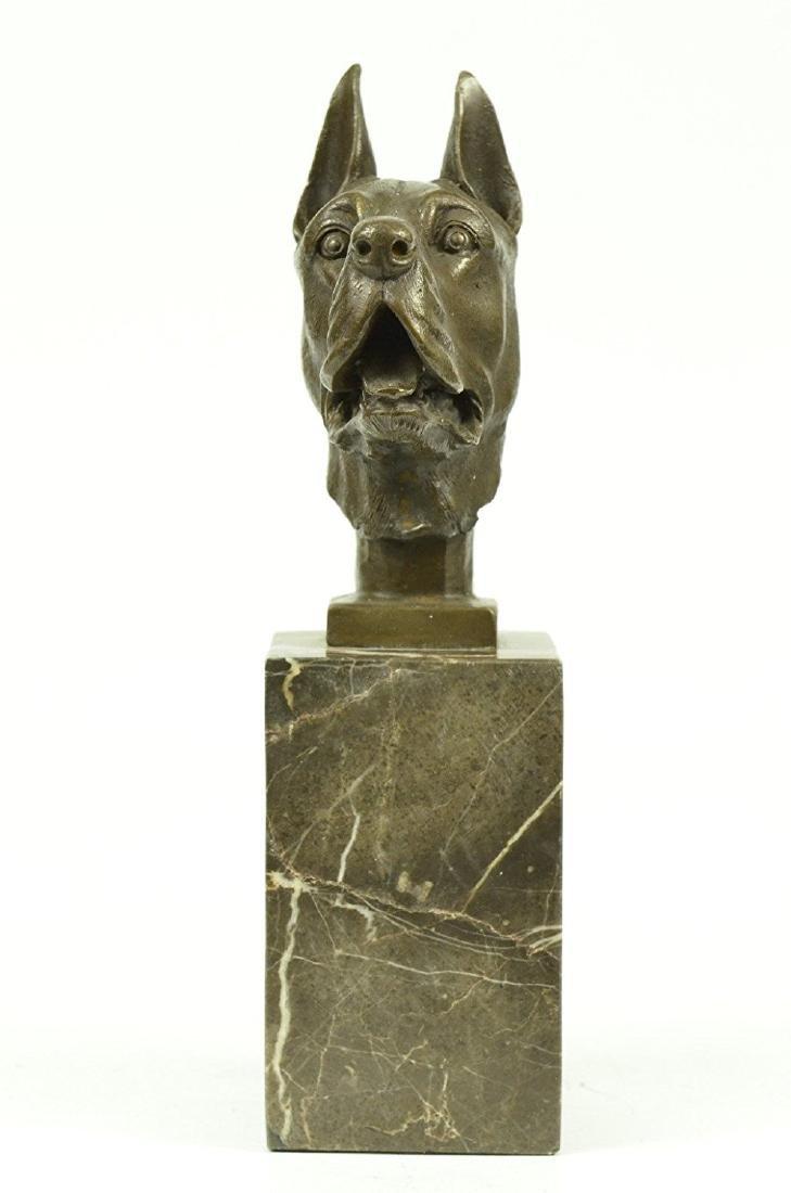 Great Dane Dog Lover Bronze Sculpture