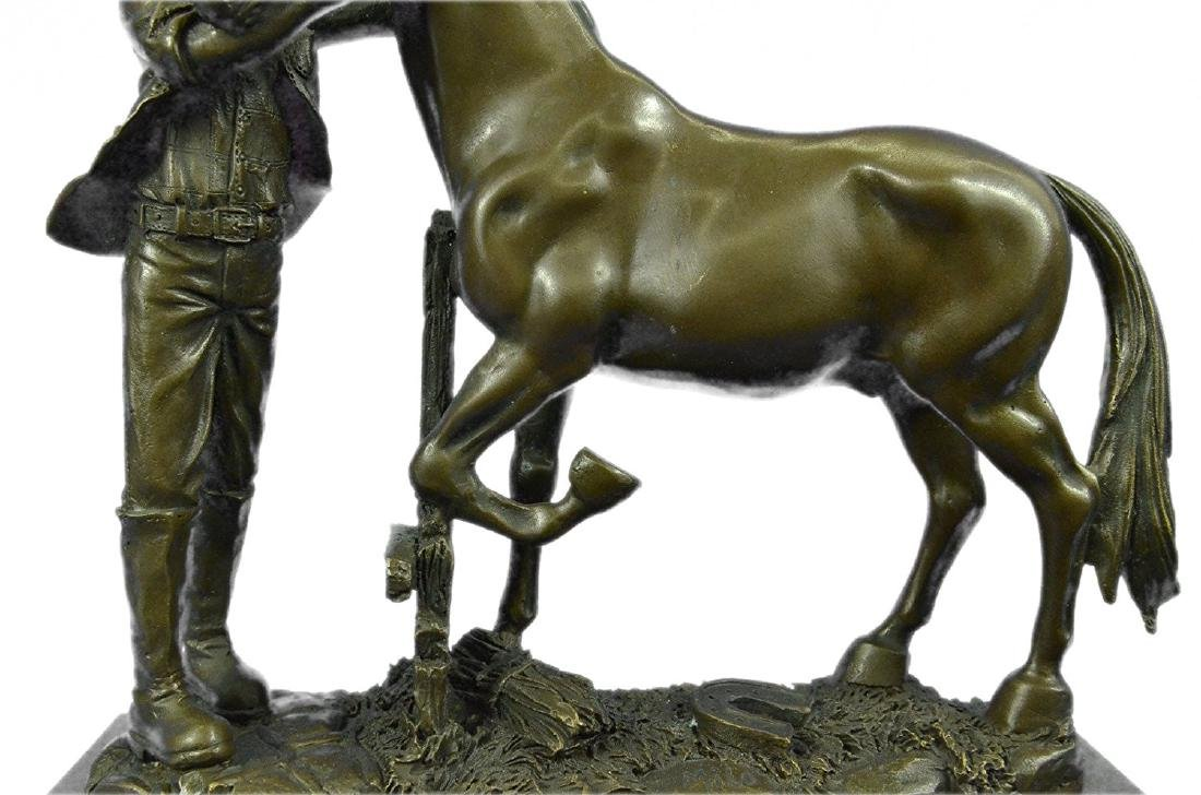 Cowboy and his Trusted Horse Bronze Sculpture - 3
