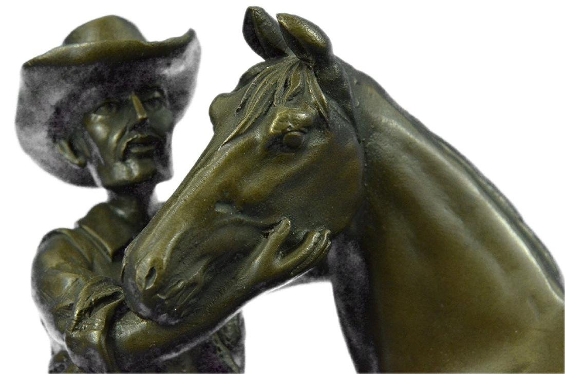 Cowboy and his Trusted Horse Bronze Sculpture - 4