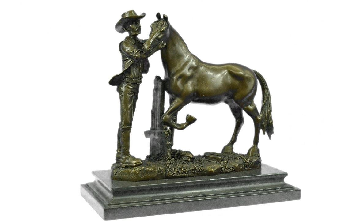 Cowboy and his Trusted Horse Bronze Sculpture - 5