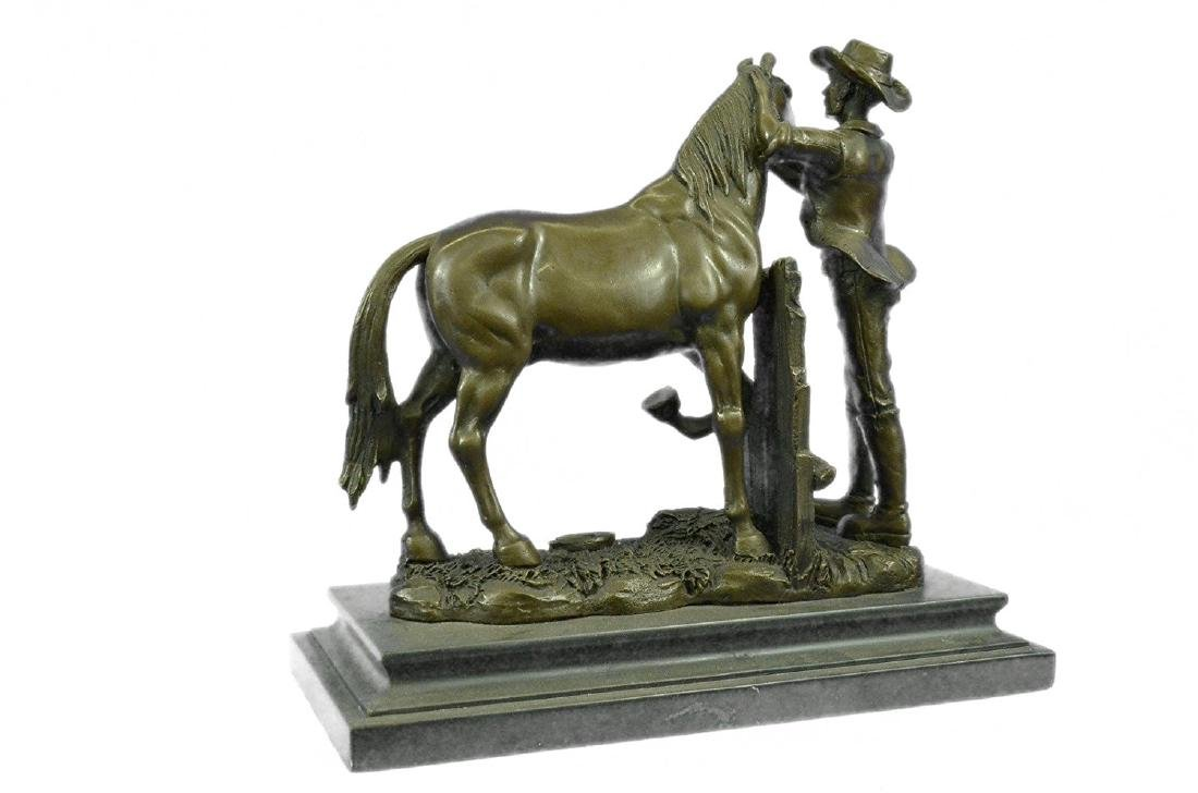 Cowboy and his Trusted Horse Bronze Sculpture - 8