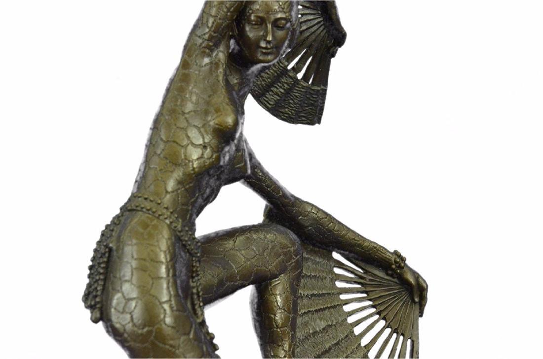Fan Dancer Bronze Sculpture on Marble Base State - 2