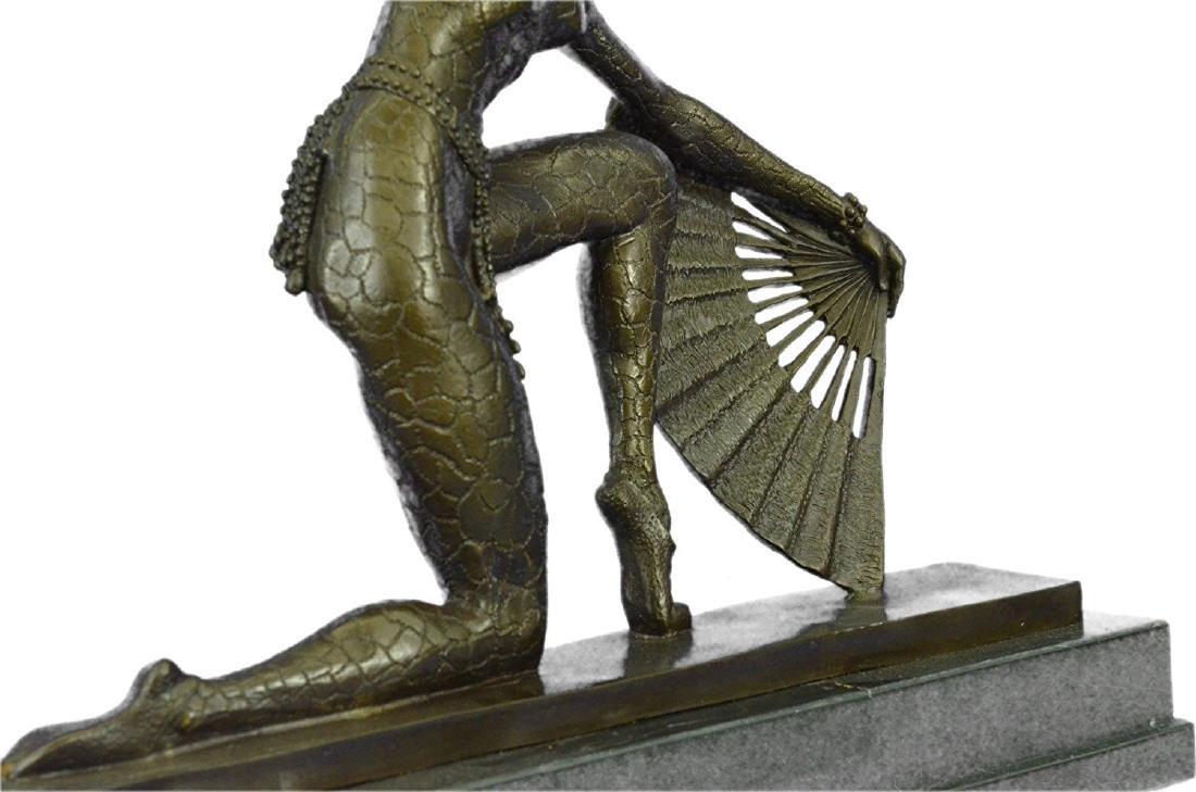 Fan Dancer Bronze Sculpture on Marble Base State - 3