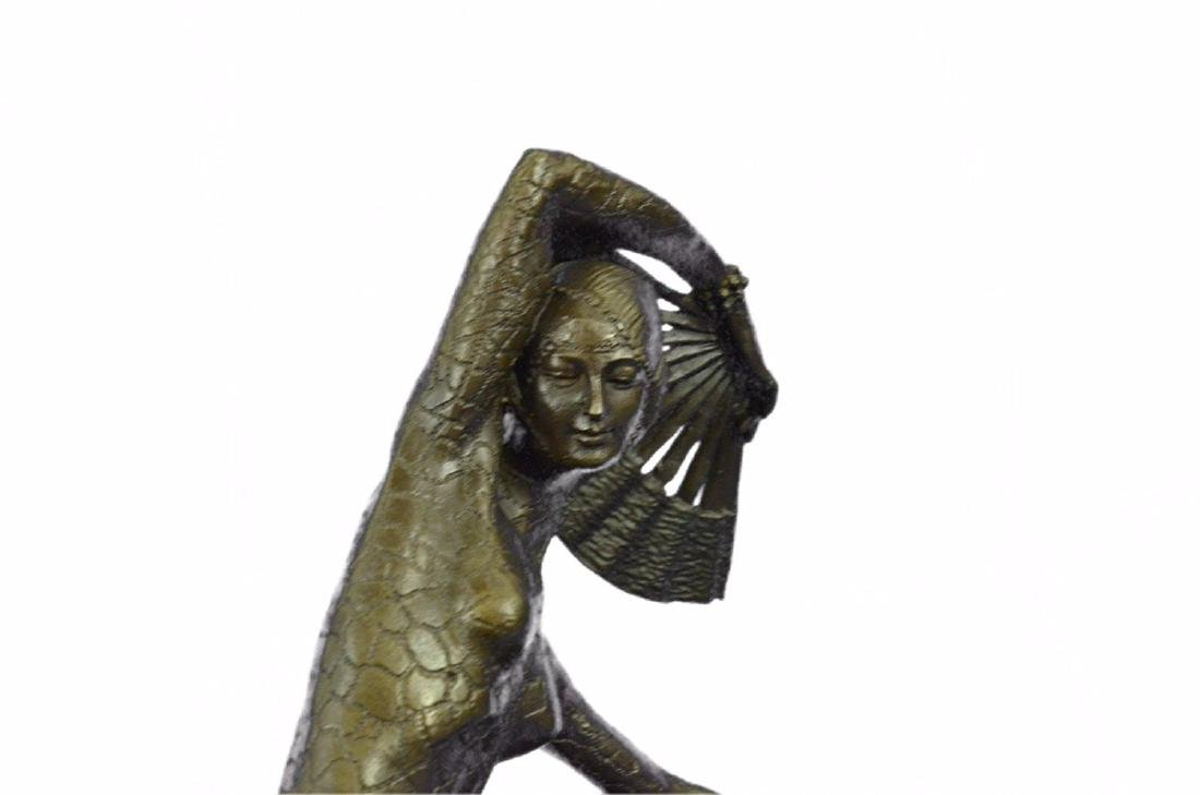 Fan Dancer Bronze Sculpture on Marble Base State - 4