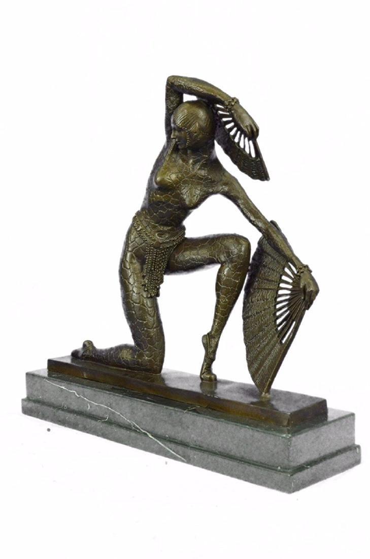 Fan Dancer Bronze Sculpture on Marble Base State - 5