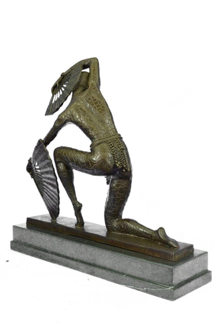 Fan Dancer Bronze Sculpture on Marble Base State - 7