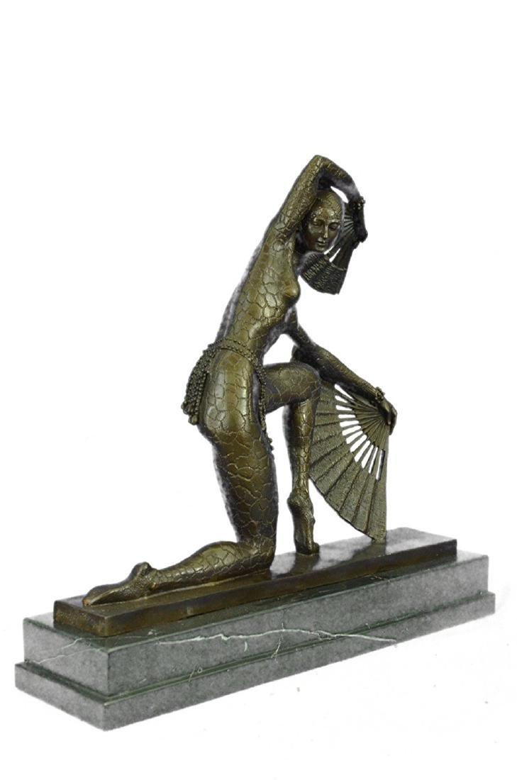 Fan Dancer Bronze Sculpture on Marble Base State - 8