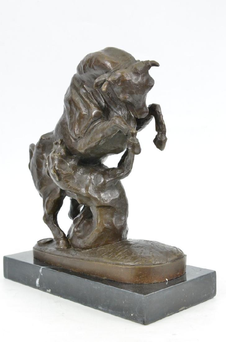 Confrontation between Bull Dog Bronze Sculpture - 3