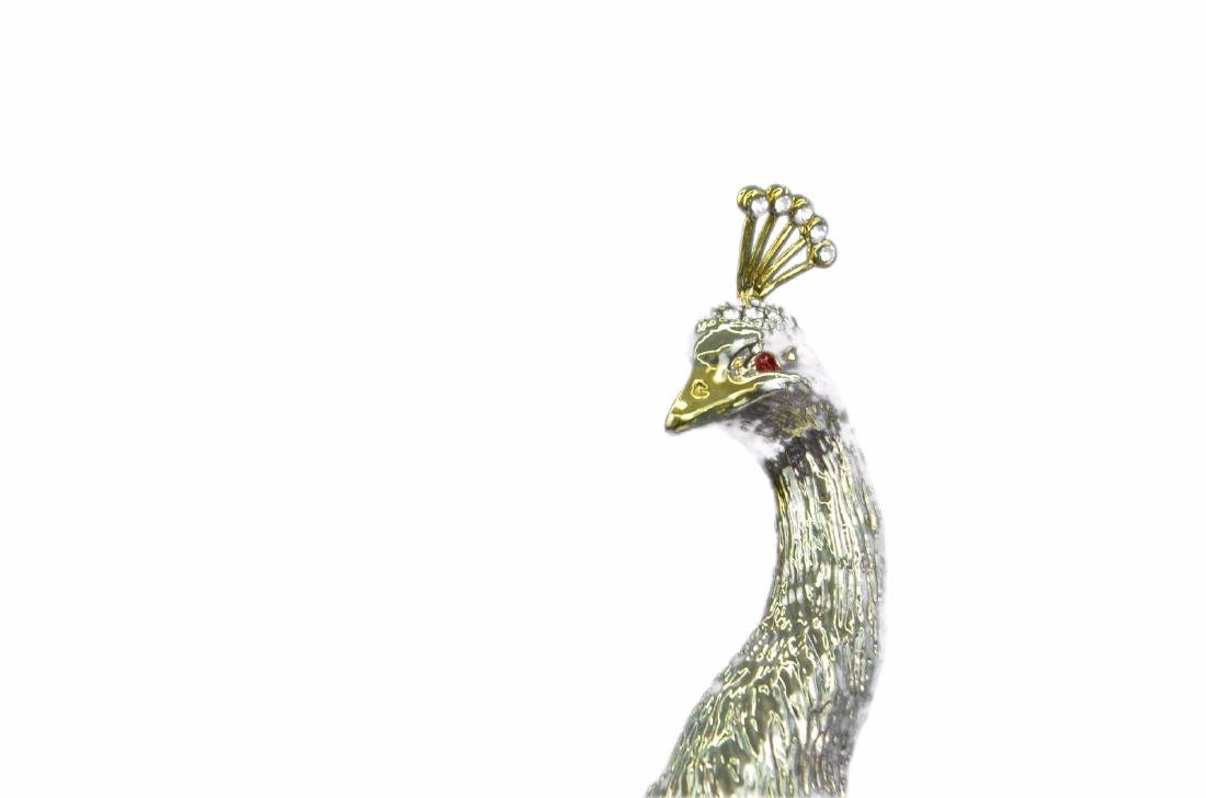 Gold Plexiglases Peacock With Sapphire Statue - 2