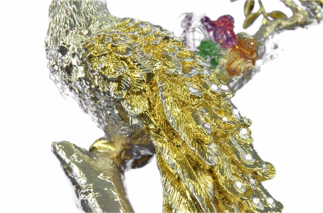 Gold Plexiglases Peacock With Sapphire Statue - 3