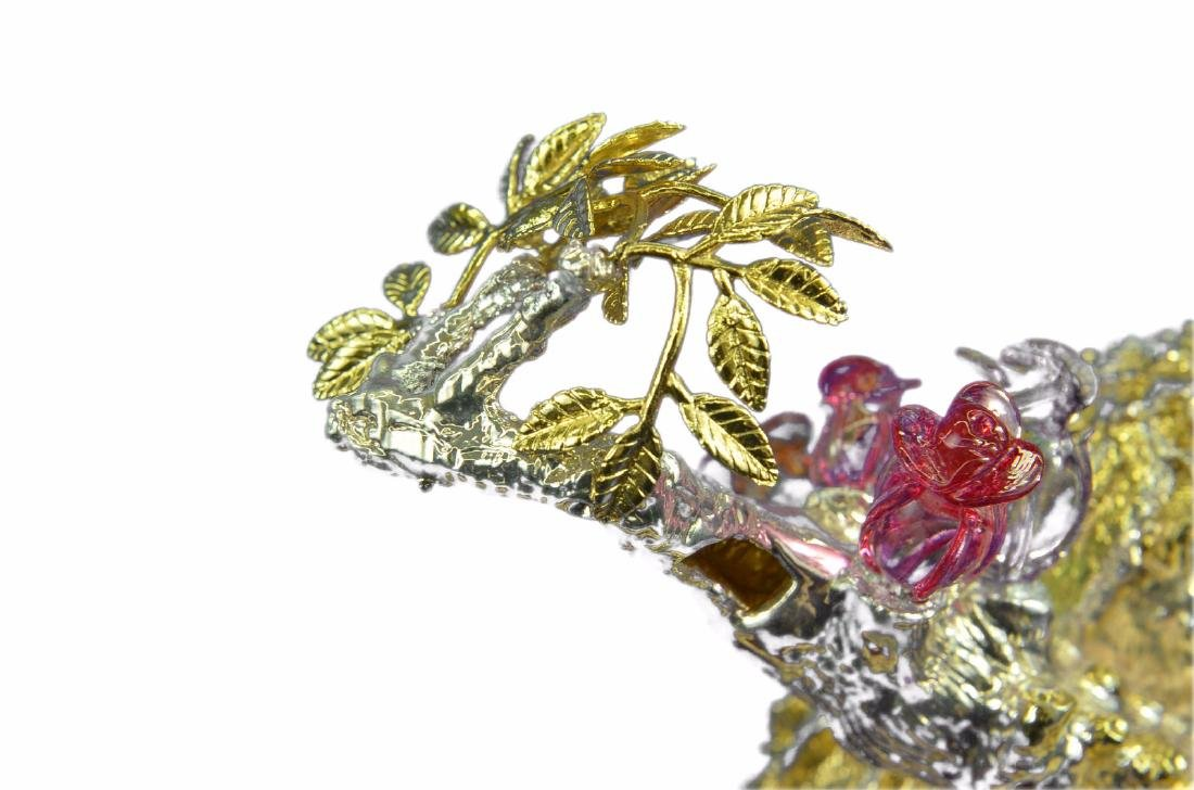 Gold Plexiglases Peacock With Sapphire Statue - 6