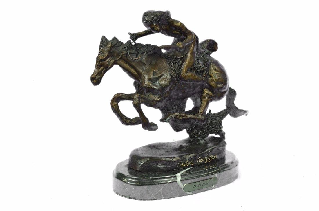 Native American Indian Riding Horse Bronze Sculpture - 5