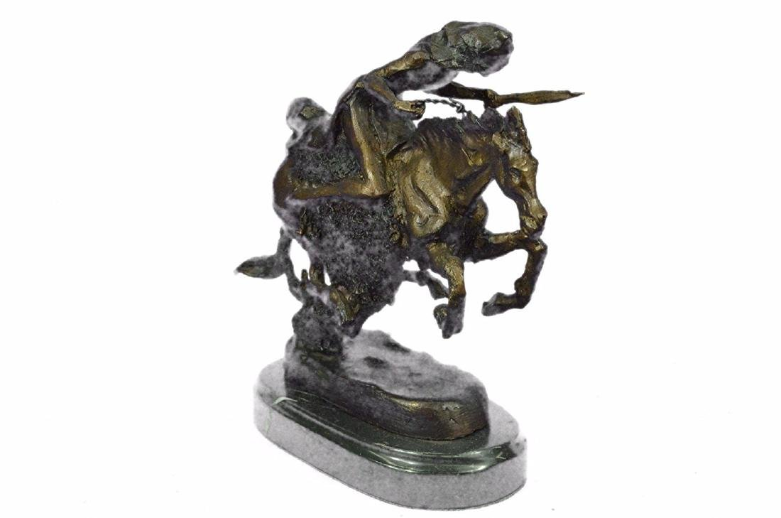 Native American Indian Riding Horse Bronze Sculpture - 6