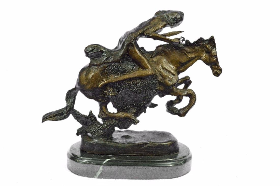 Native American Indian Riding Horse Bronze Sculpture - 7