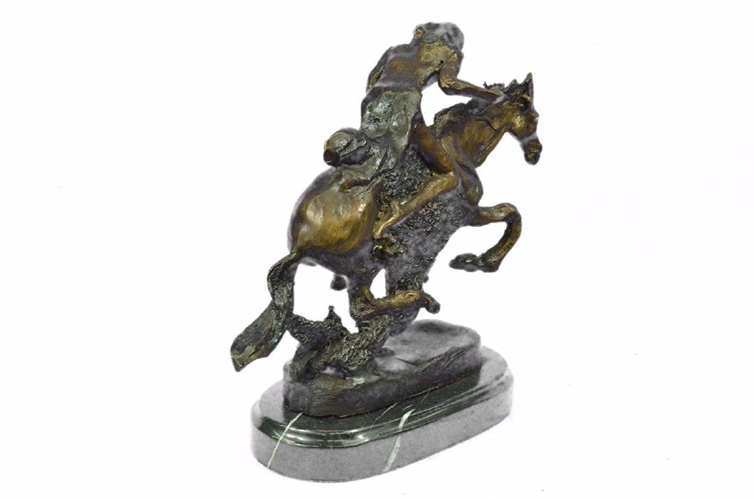 Native American Indian Riding Horse Bronze Sculpture - 8