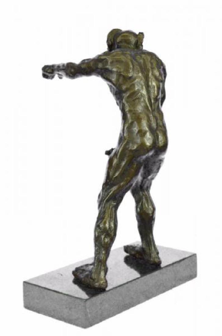 Devil Holding His Phallus Bronze Sculpture - 4