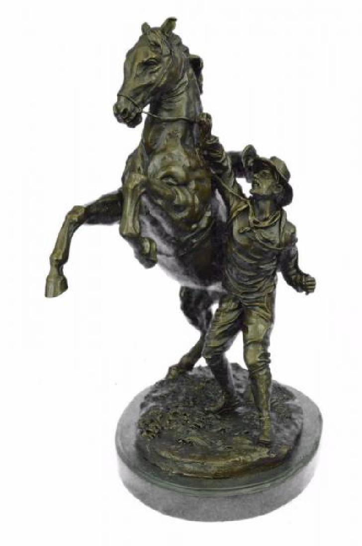 Man With Horse Bronze Sculpture