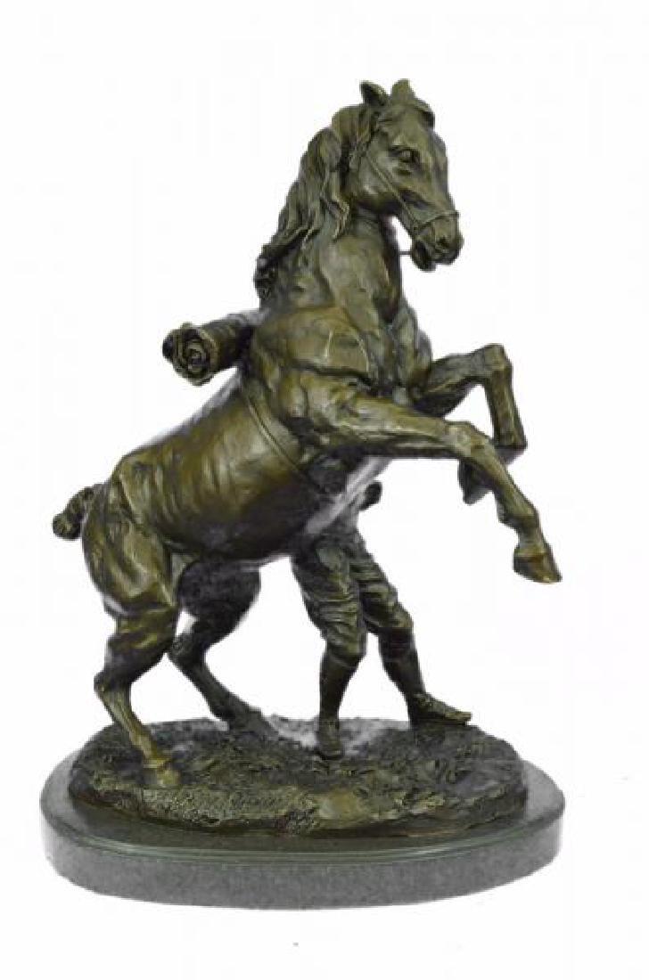 Man With Horse Bronze Sculpture - 3