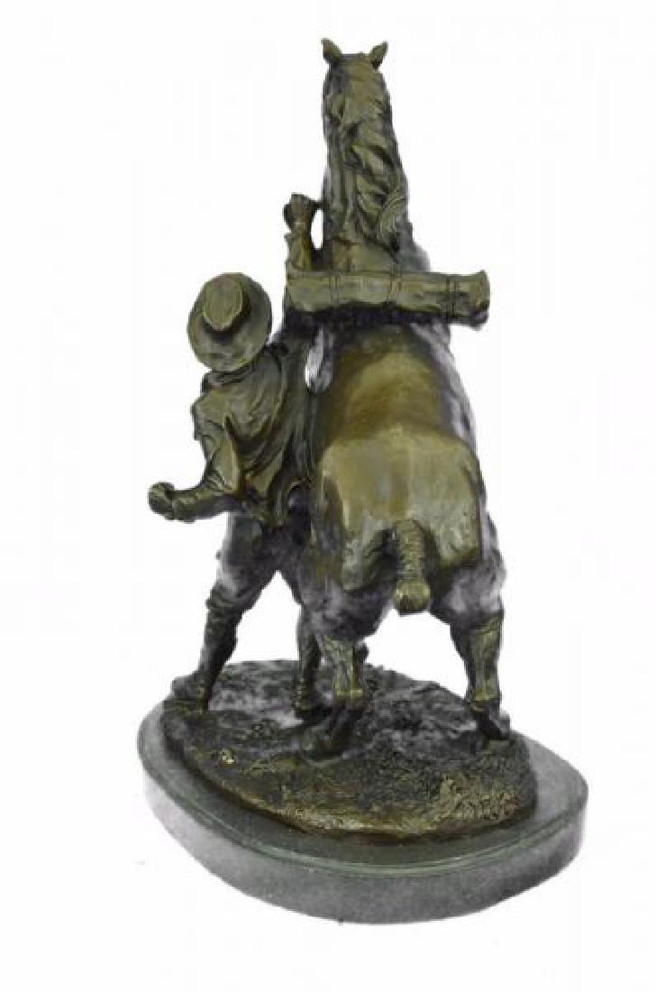 Man With Horse Bronze Sculpture - 5