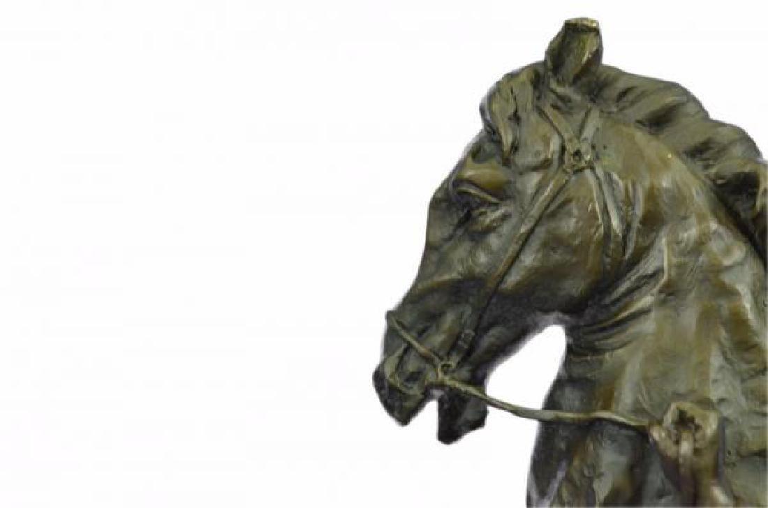 Man With Horse Bronze Sculpture - 6
