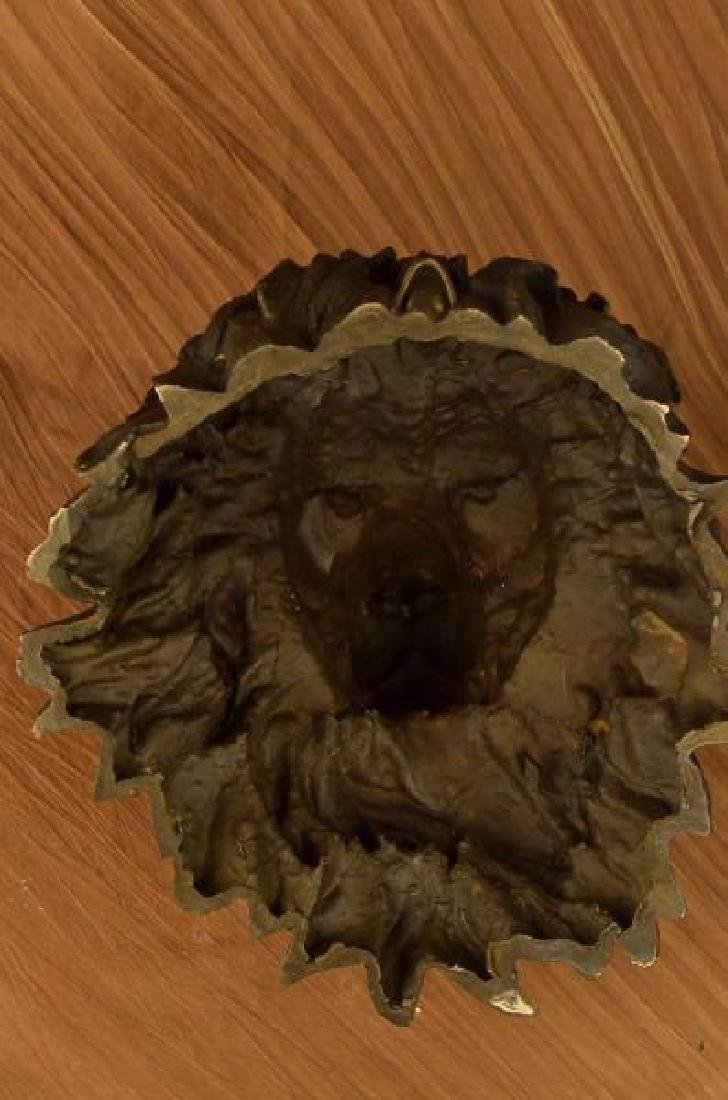 Wall Mount Lion Head Bust Bronze Sculpture - 5