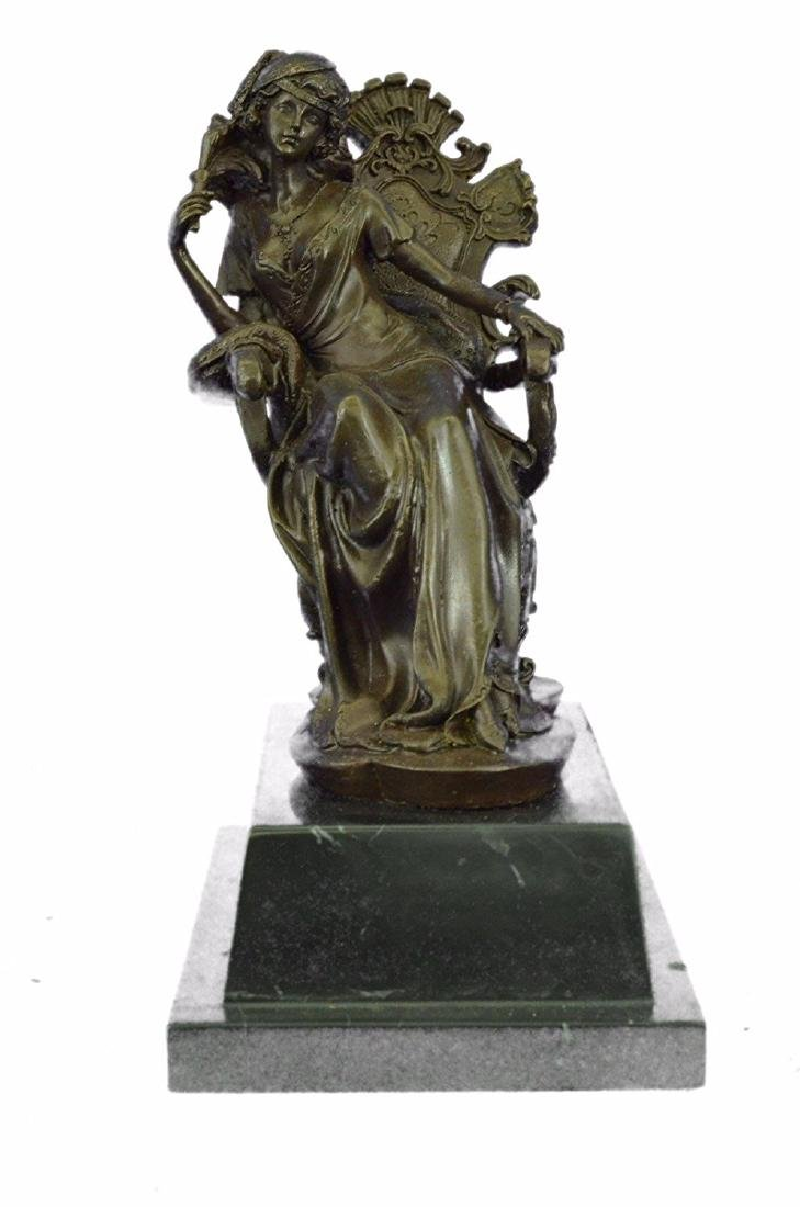 Lady Seating on Chair Bronze Sculpture on Marble Base