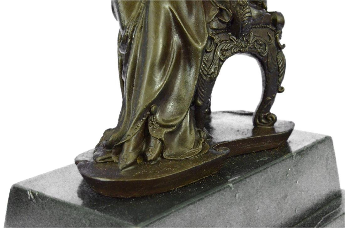 Lady Seating on Chair Bronze Sculpture on Marble Base - 3