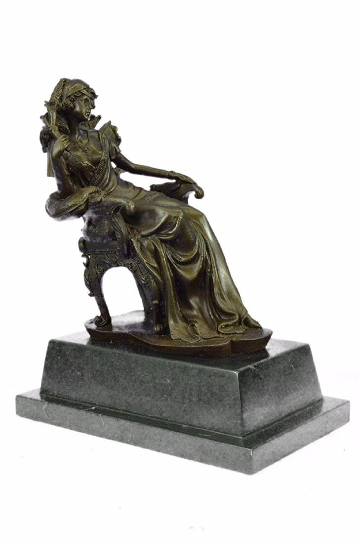 Lady Seating on Chair Bronze Sculpture on Marble Base - 5