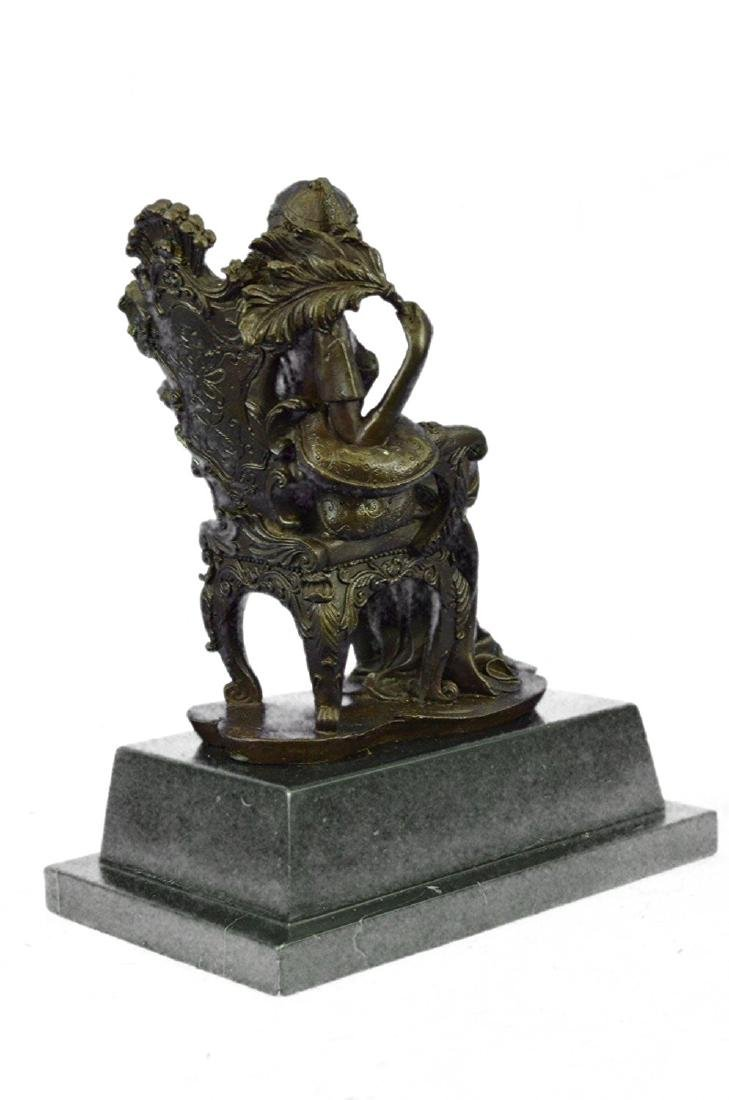 Lady Seating on Chair Bronze Sculpture on Marble Base - 6