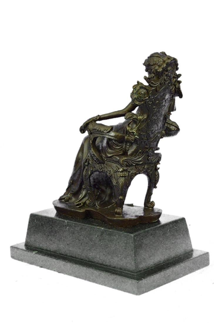 Lady Seating on Chair Bronze Sculpture on Marble Base - 7