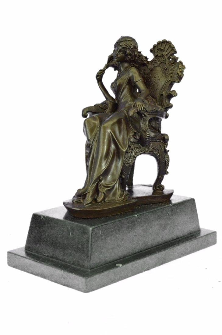 Lady Seating on Chair Bronze Sculpture on Marble Base - 8