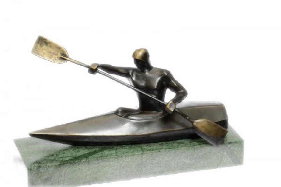 Canoeing Trophy Bronze Sculpture on Marble Base Figure