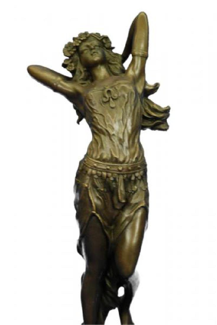 Gypsy Dancer Bronze Sculpture on Marble Base Figure