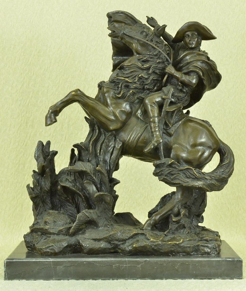 Napoleon Crossing the Alps Bronze Sculpture on Marble