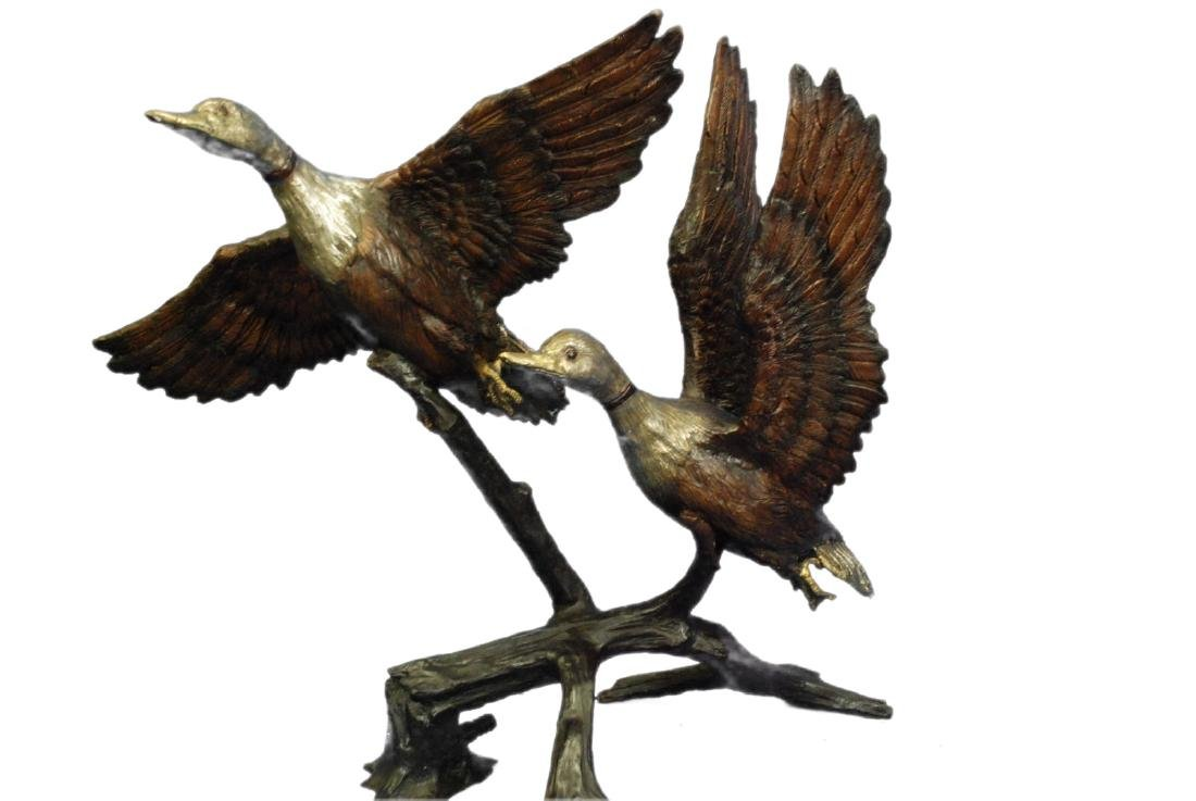 Water Fountain Flying Swans Bronze Sculpture - 9