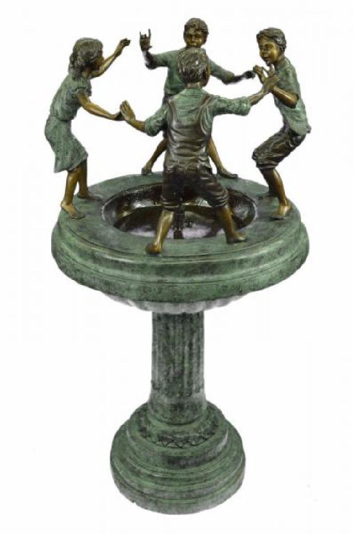 Dancing Kids Boys and Girl Water Fountain Bronze - 2