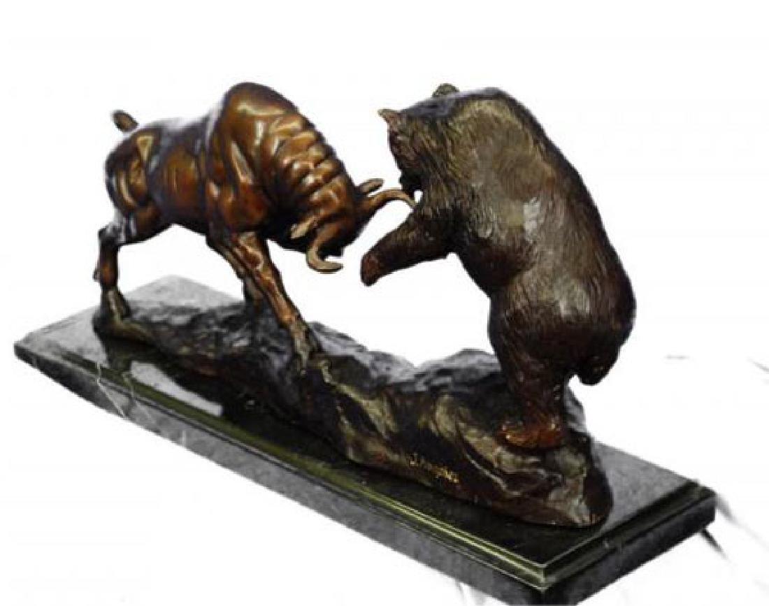Bear and Bull Bronze Sculpture - 6