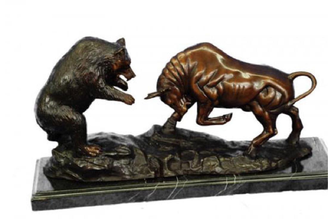 Bear and Bull Bronze Sculpture - 8