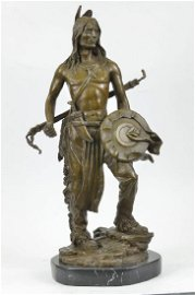 Native American Chief Bronze Statue with Marble Base