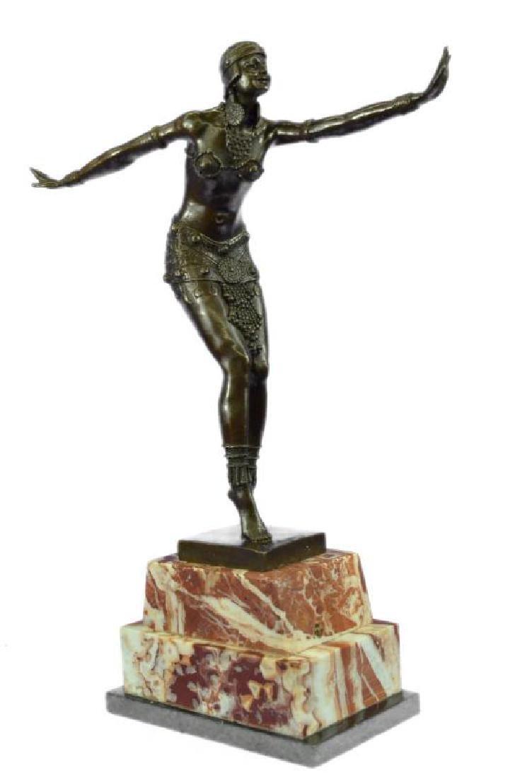 Stunning Dancer on Marble Bronze Statue