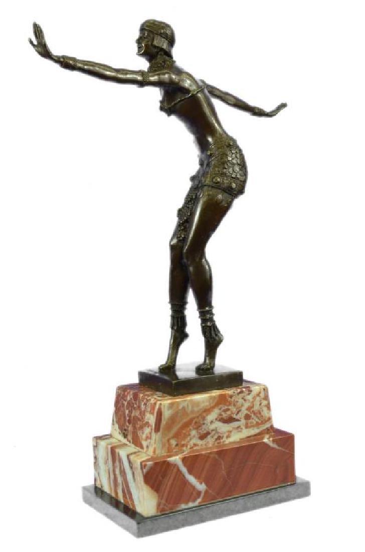 Stunning Dancer on Marble Bronze Statue - 2