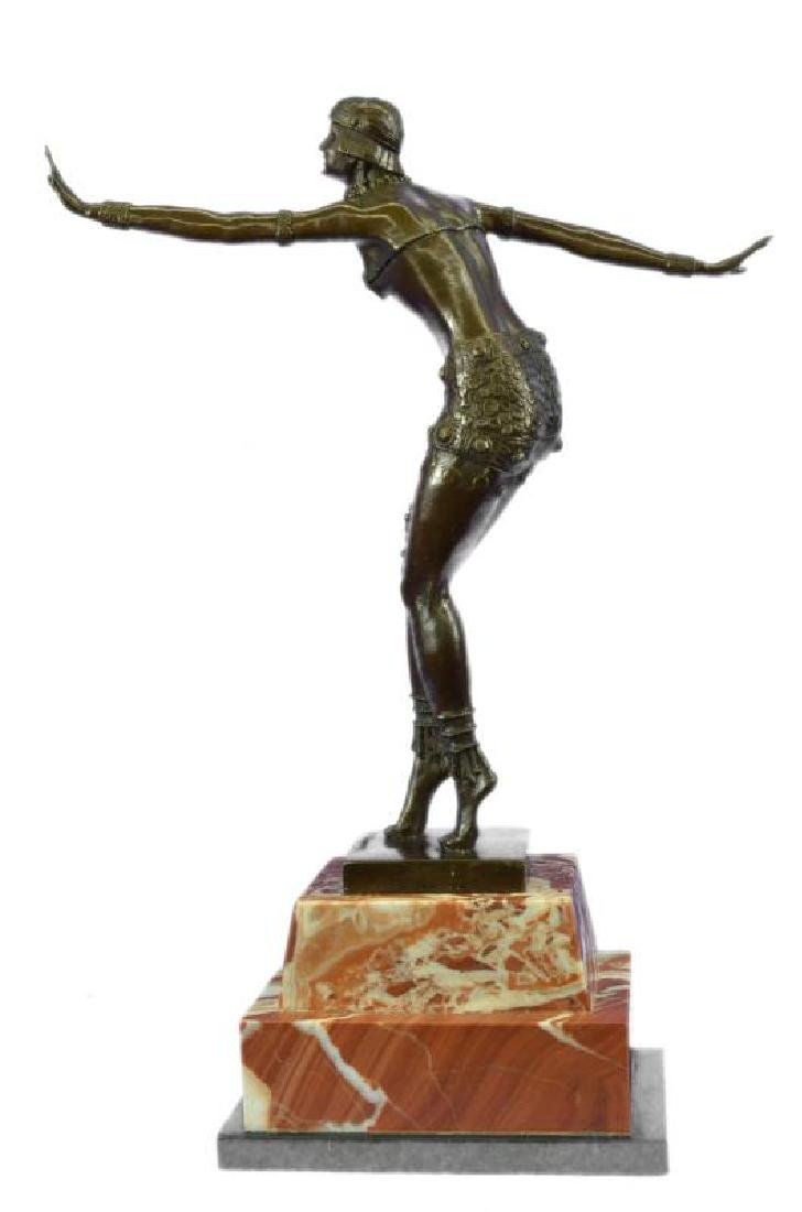 Stunning Dancer on Marble Bronze Statue - 3