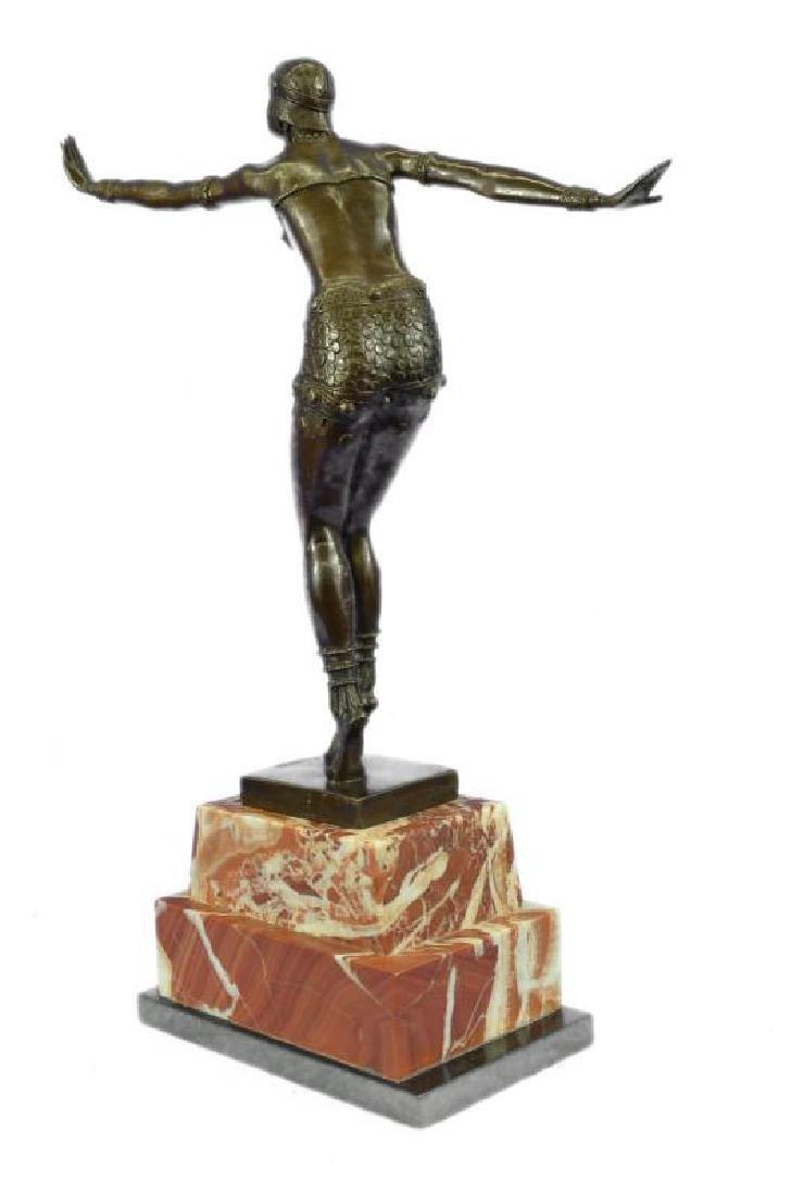Stunning Dancer on Marble Bronze Statue - 4