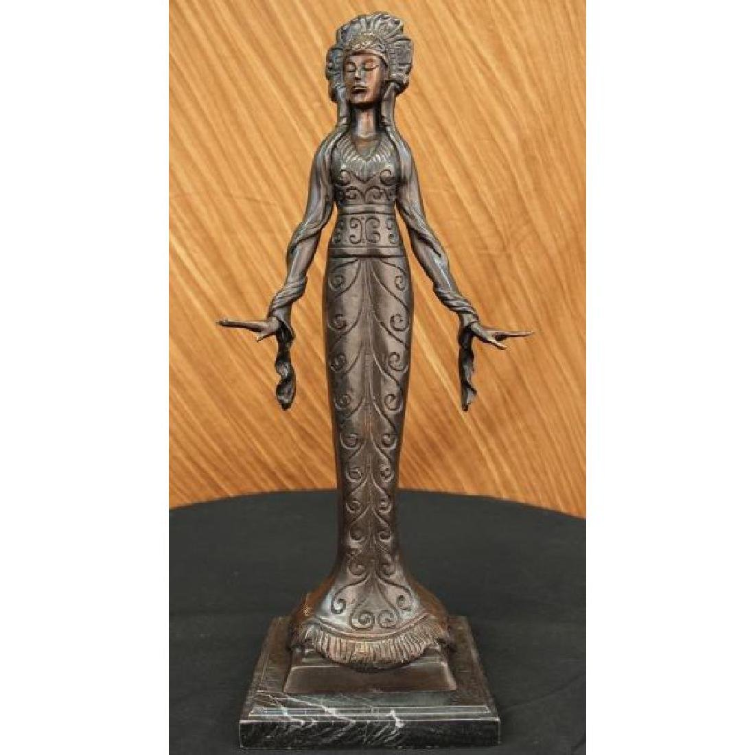 Native American Indian Girl Bronze Sculpture