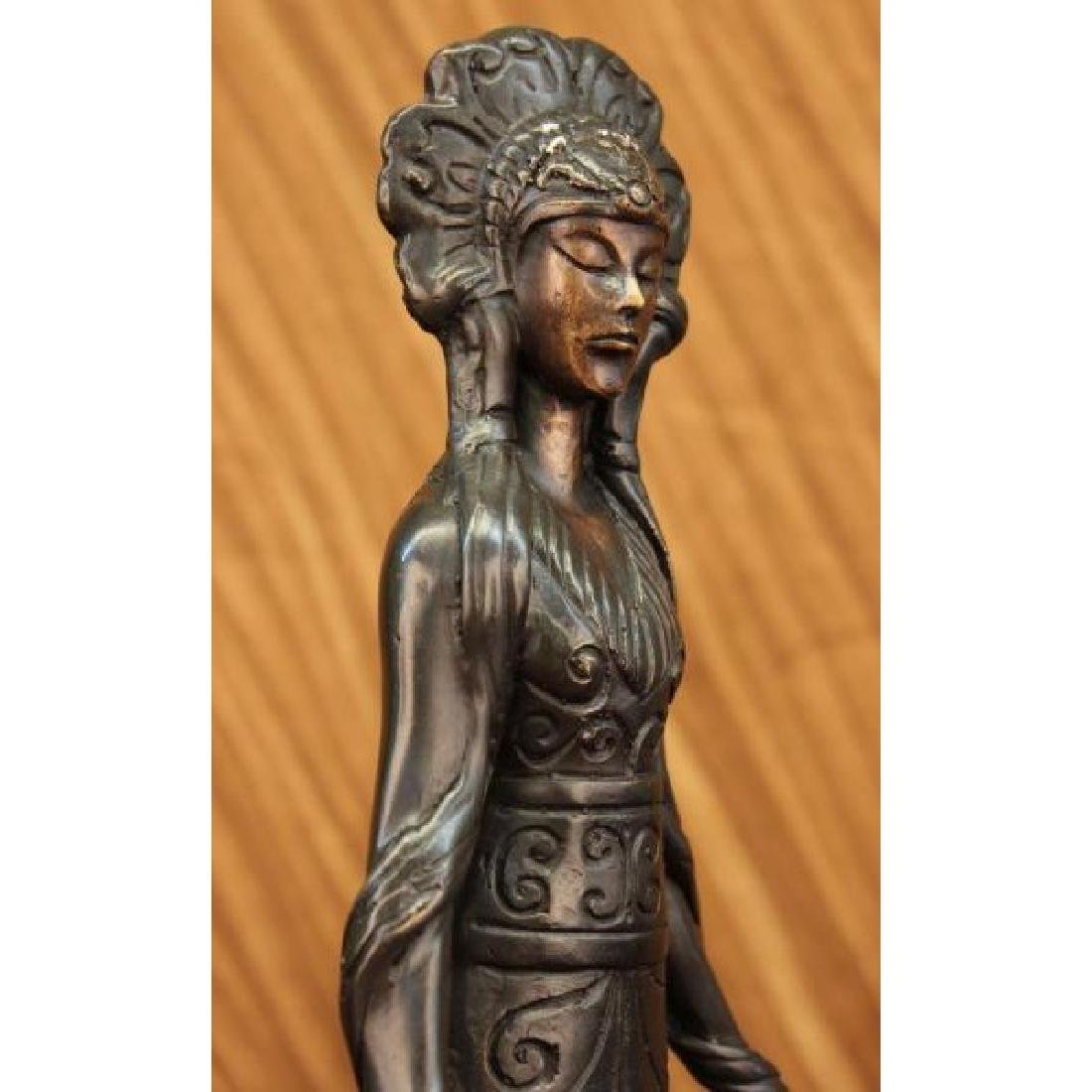 Native American Indian Girl Bronze Sculpture - 5