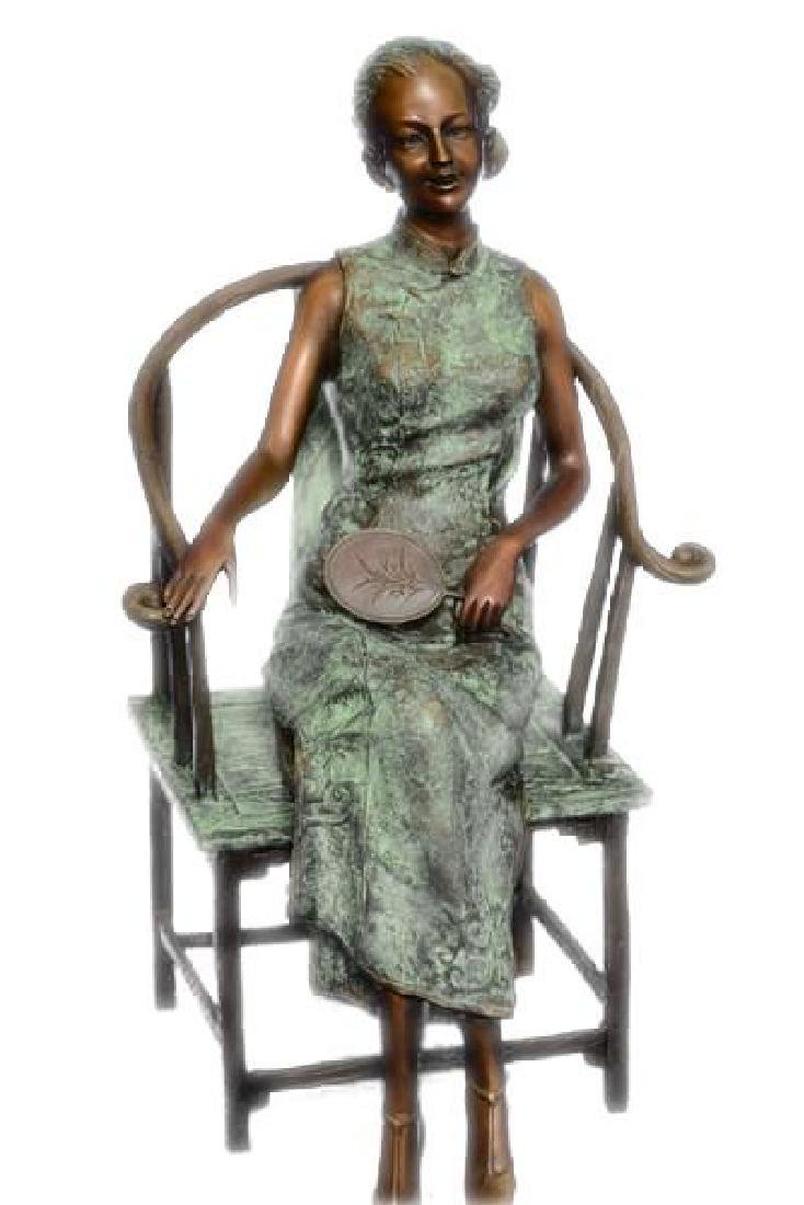 Gorgeous Chinese Woman sitting on a Chair Bronze Statue